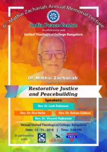 Mathai Zachariah Annual Memorial Lecture @ United Theological College | Bengaluru | Karnataka | India